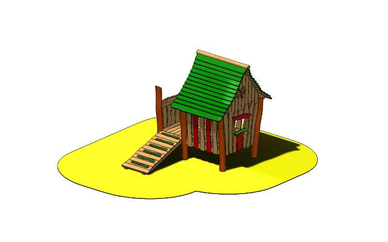 Stelzenspielhaus mit Rampe