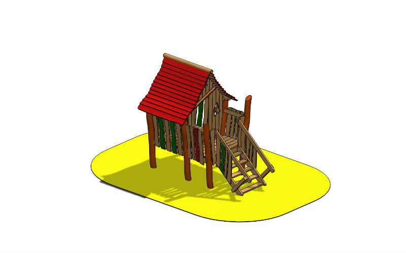 Stelzenspielhaus mit Treppe
